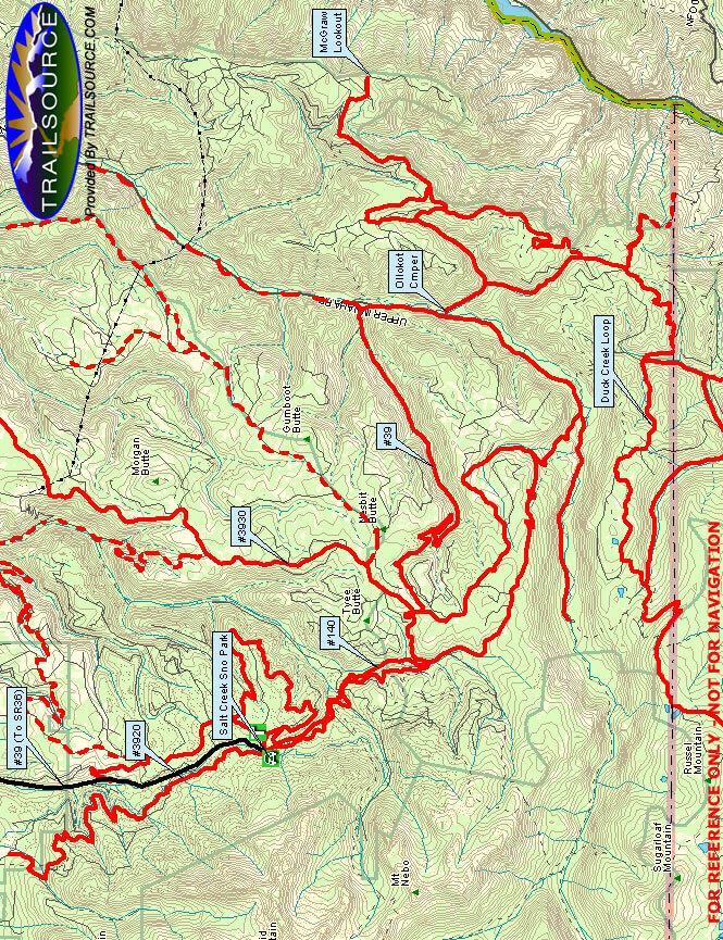 Salt Creek Sno Park Snowmobiling Map