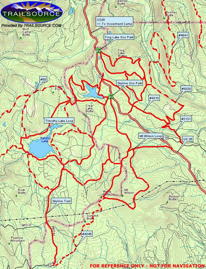 Mt Hood Snowmobiling Map
