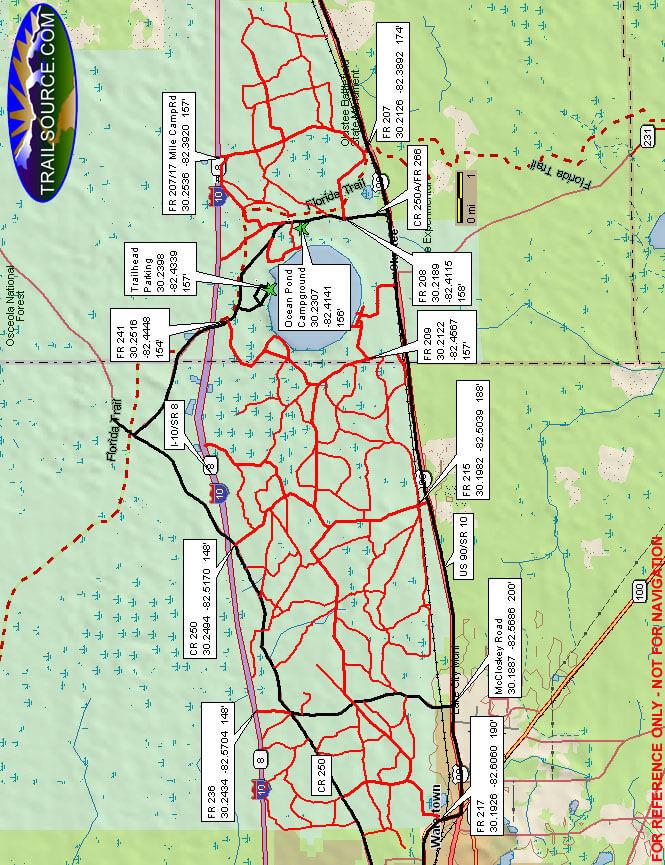 Osceola National Forest Dirt Biking Map