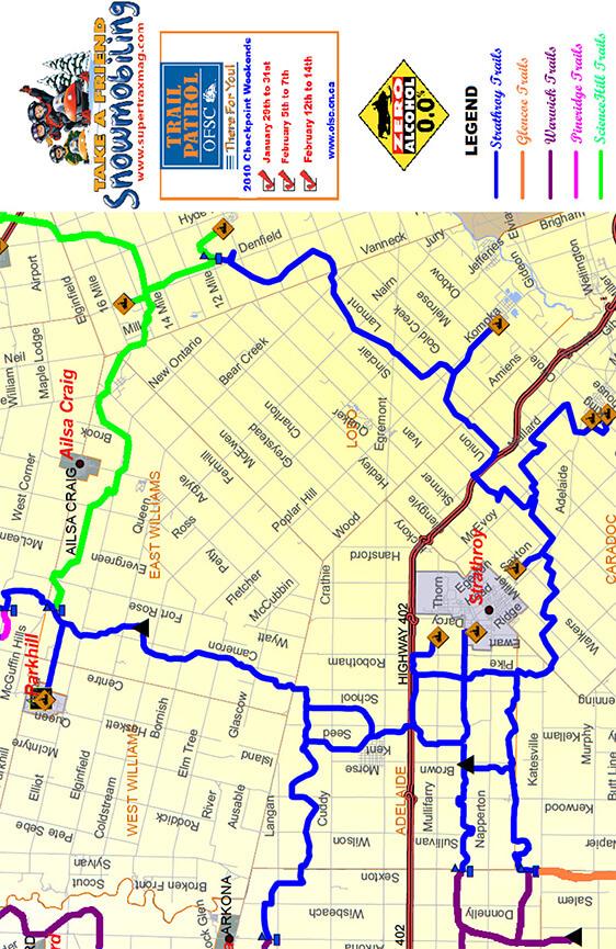 Strathroy Snowmobiling Map