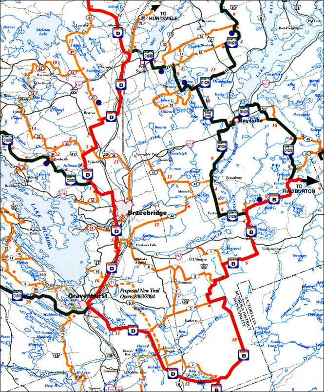 Gravenhurst Snowmobiling Map