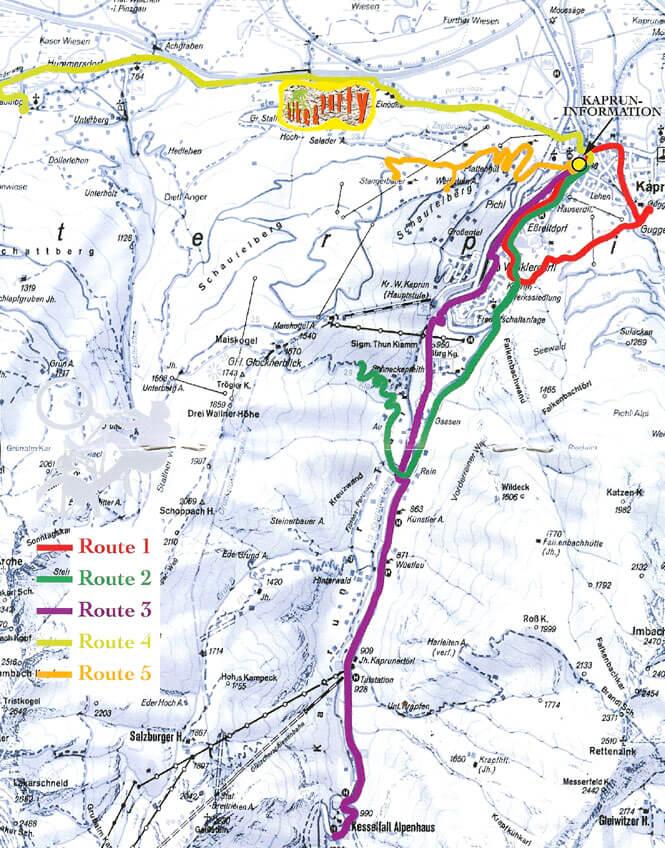 Kaprun Mountain Biking Map