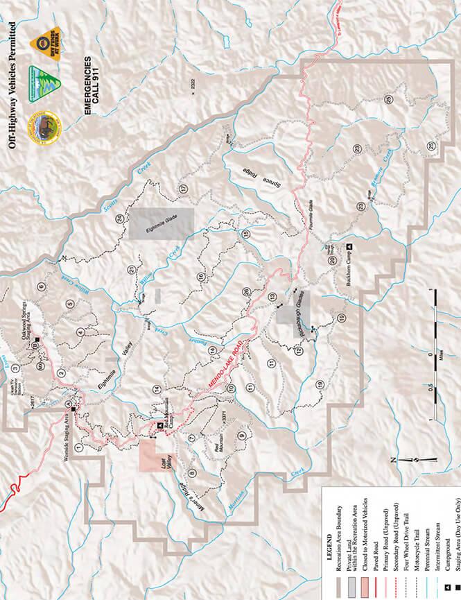 Cow Mountain - South Dirt Biking Map