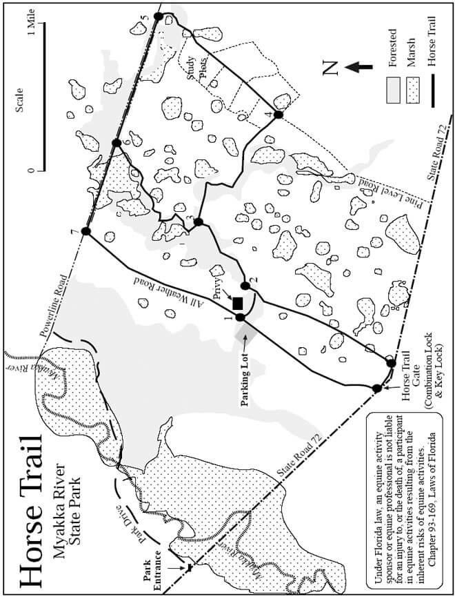 Myakka River State Park Horseback Riding Map