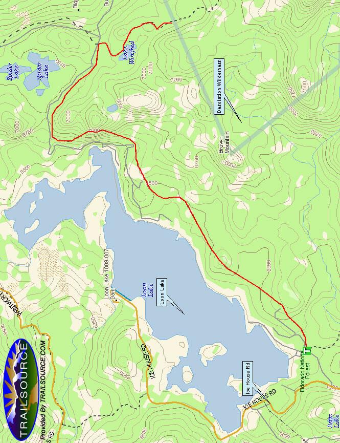 Loon Lake South Shore Trail Hiking Map