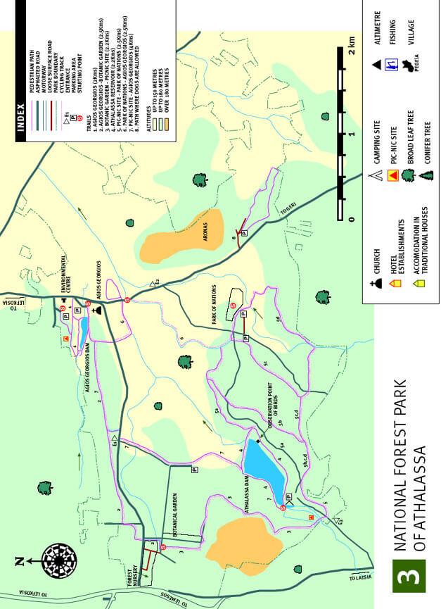 Athalassa Hiking Map
