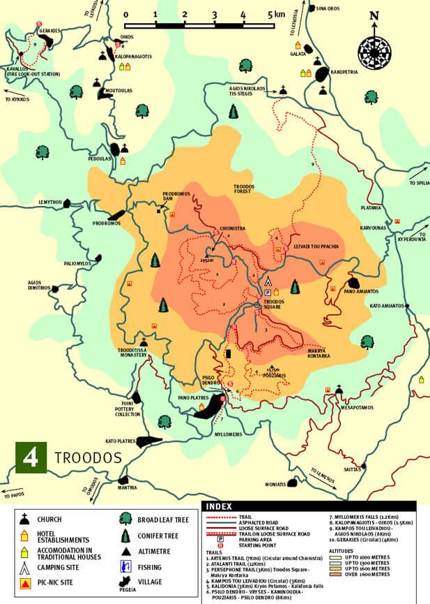 Troodoos Hiking Map