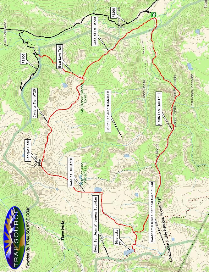 Conejos Peak Trail Horseback Riding Map