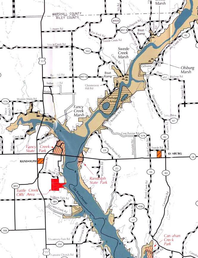 Tuttle Creek ORV Area Dirt Biking Map