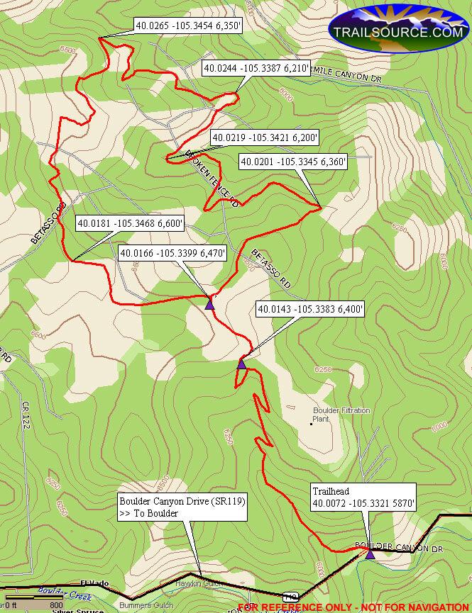 Betasso Preserve Mountain Biking Map