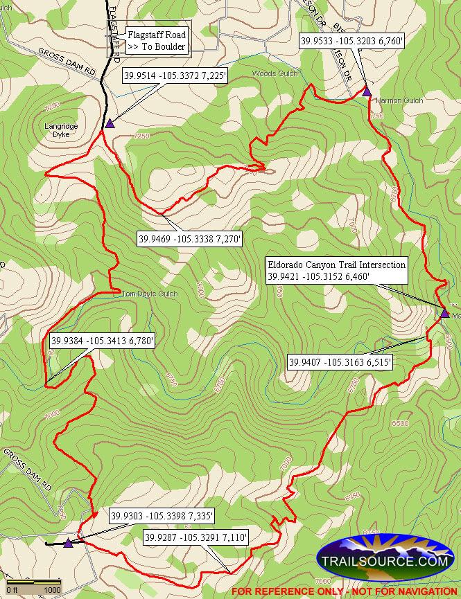 Walker Ranch Loop Mountain Biking Map