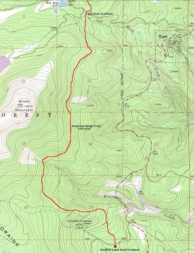 South Sourdough Trail Mountain Biking Map
