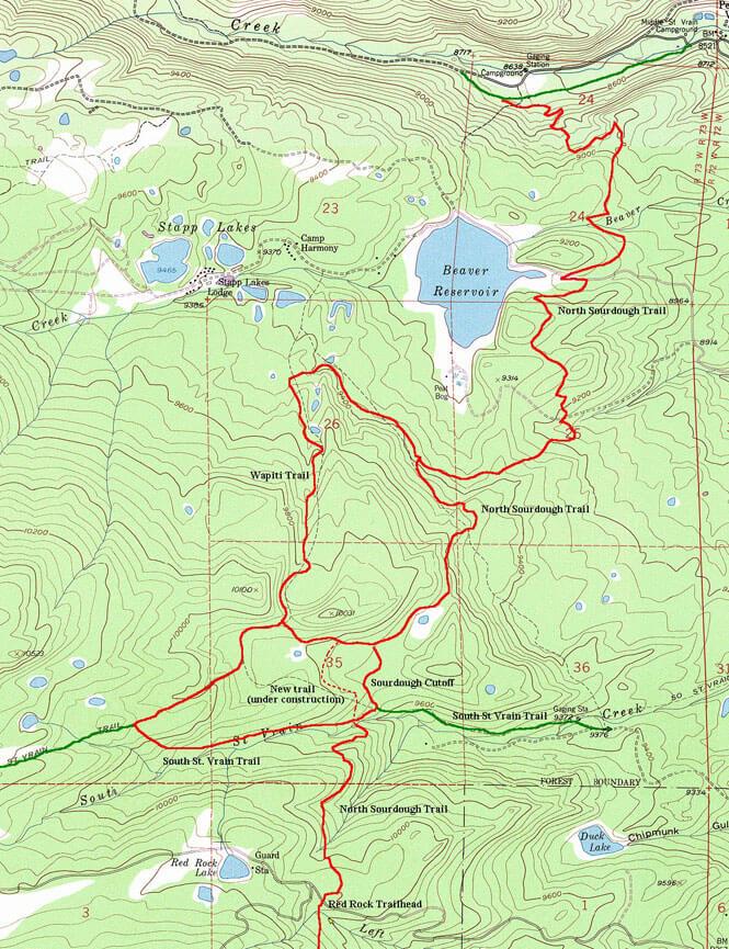 North Sourdough Trail / Wapiti Trail Mountain Biking Map