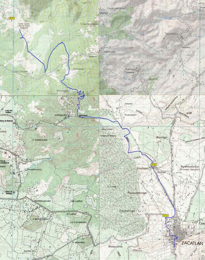 Piedras Encimadas a Zacatlán Mountain Biking Map