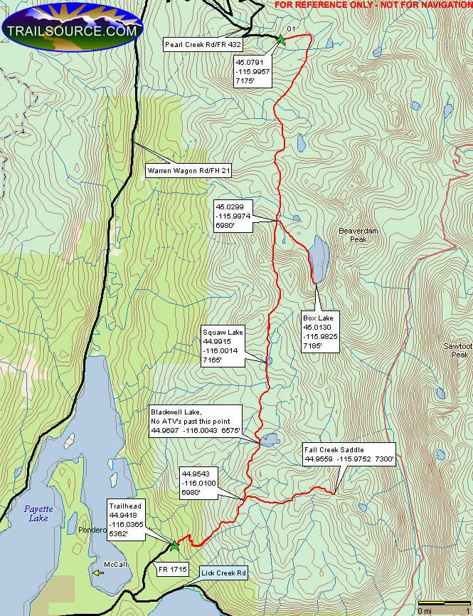 Blackwell Lake / Fall Creek Saddle ORV Dirt Biking Map