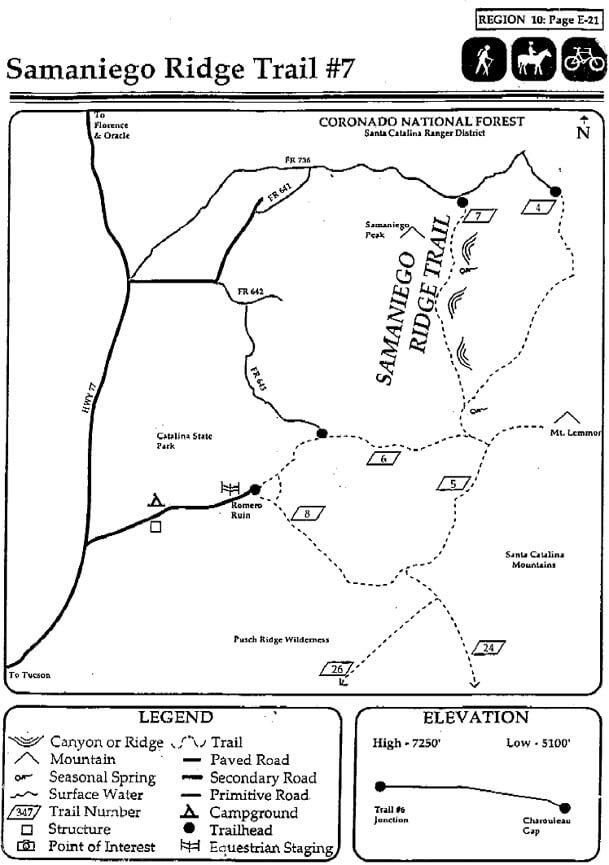 Samaniego Ridge Trail Hiking Map