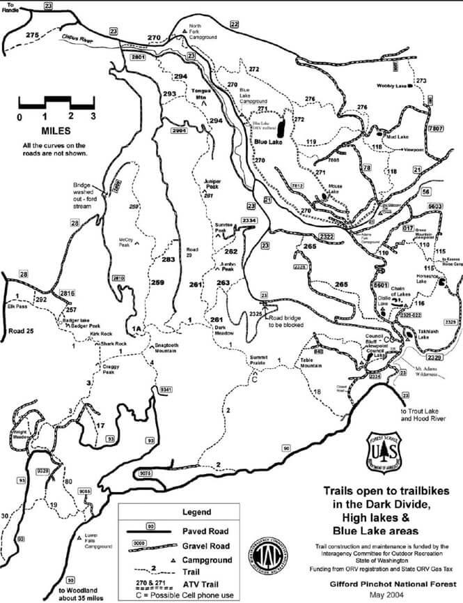 Dark Divide / Blue Lakes Dirt Biking Map
