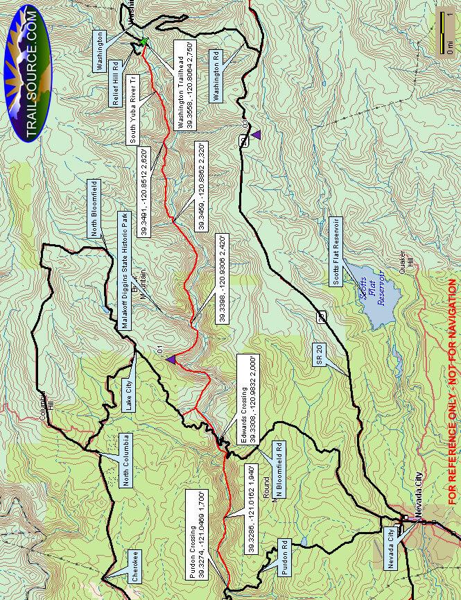 South Yuba River Trail Hiking Map