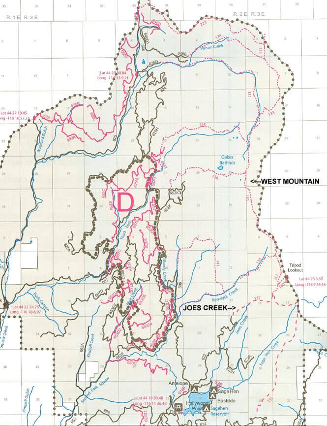 West Mountain / Joes Creek Hiking Map
