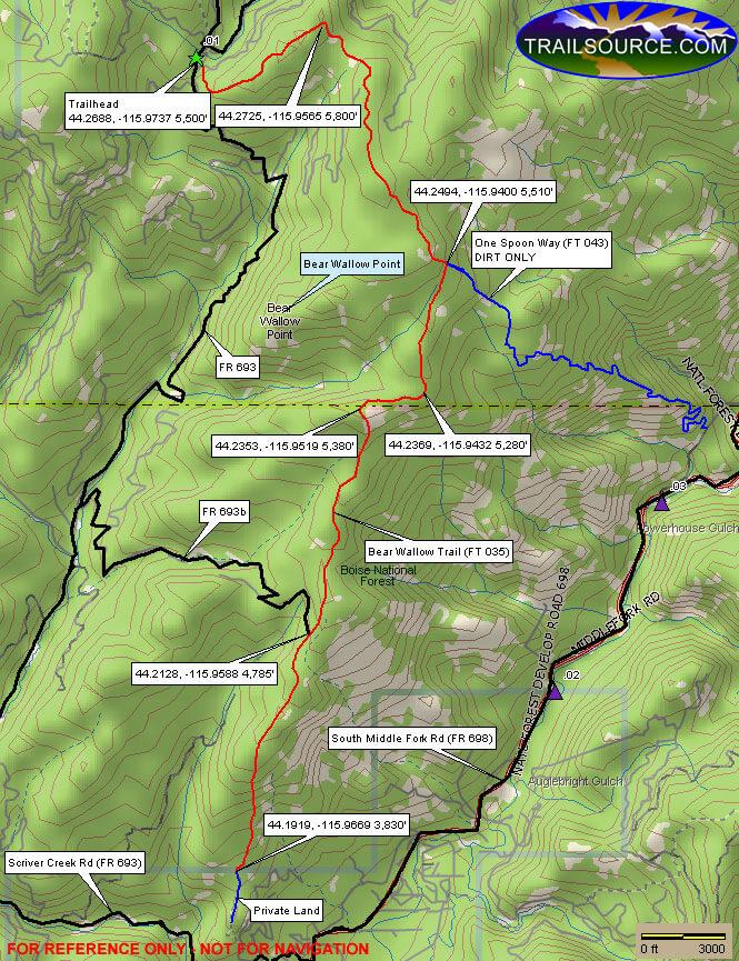 Bear Wallow Trail Dirt Biking Map