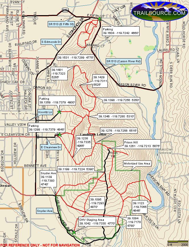 Prison Hill Recreation Area ATV Trails Map