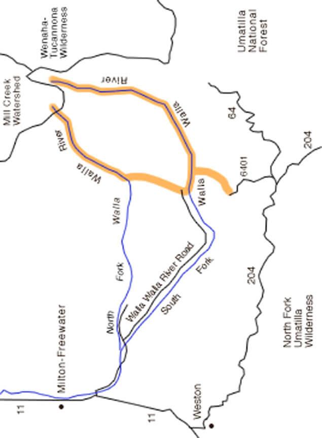 Upper Walla Walla Dirt Biking Map