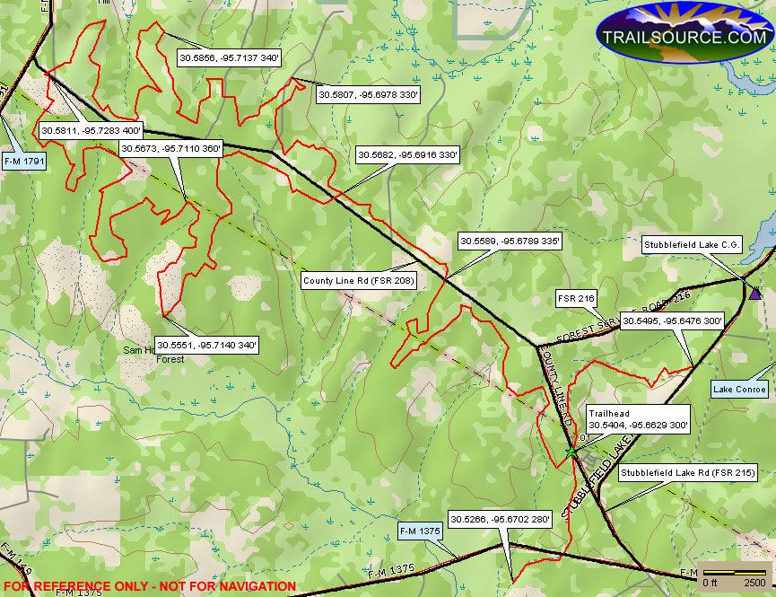 Sam Houston National Forest - Northwest Side Dirt Biking Map