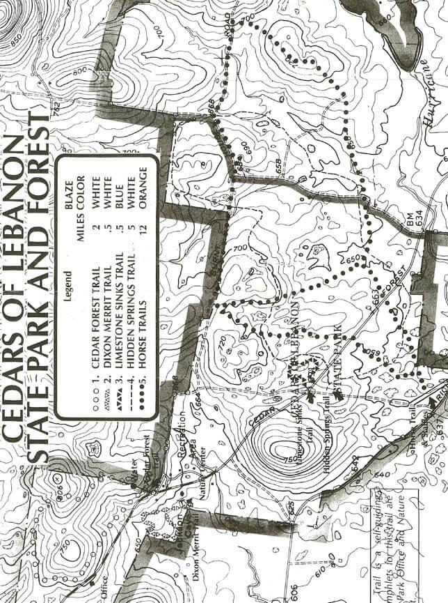 Cedars Of Lebanon State Park Hiking Map