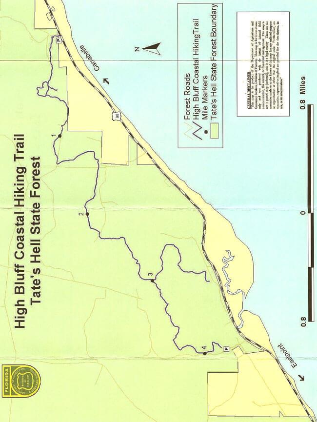 High Bluff Coastal Hiking Trail Hiking Map