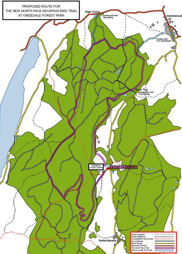 North Face Mountain Bike Trail Mountain Biking Map