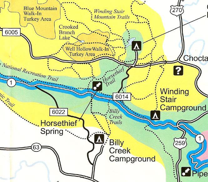 Billy Creek Trail Horseback Riding Map