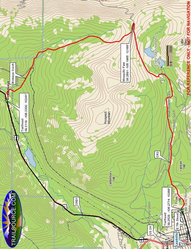 Birdseye Gulch Road Horseback Riding Map