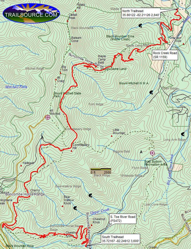 Buncombe Range Trail Hiking Map