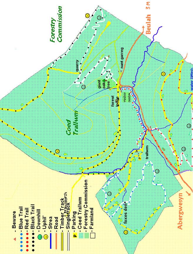 Coed Trallwm Mountain Biking Map