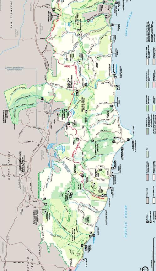 Santa Monica National Recreation Area Hiking Map