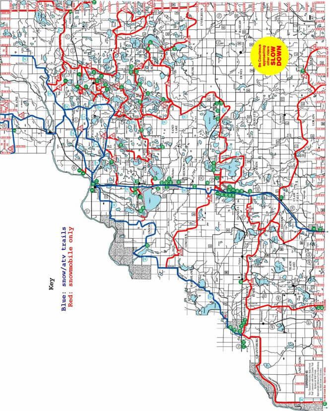Burnett County Snowmobiling Map