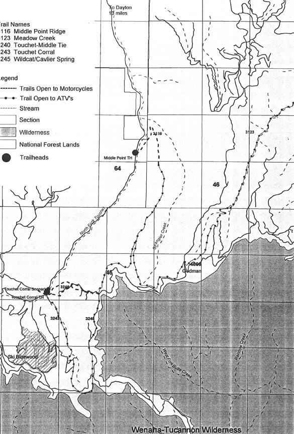 North Touchet River Trails ATV Trails Map