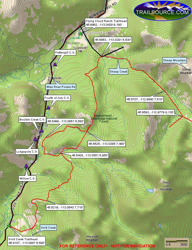 Gold Creek - Sheep Creek Trail ATV Trails Map
