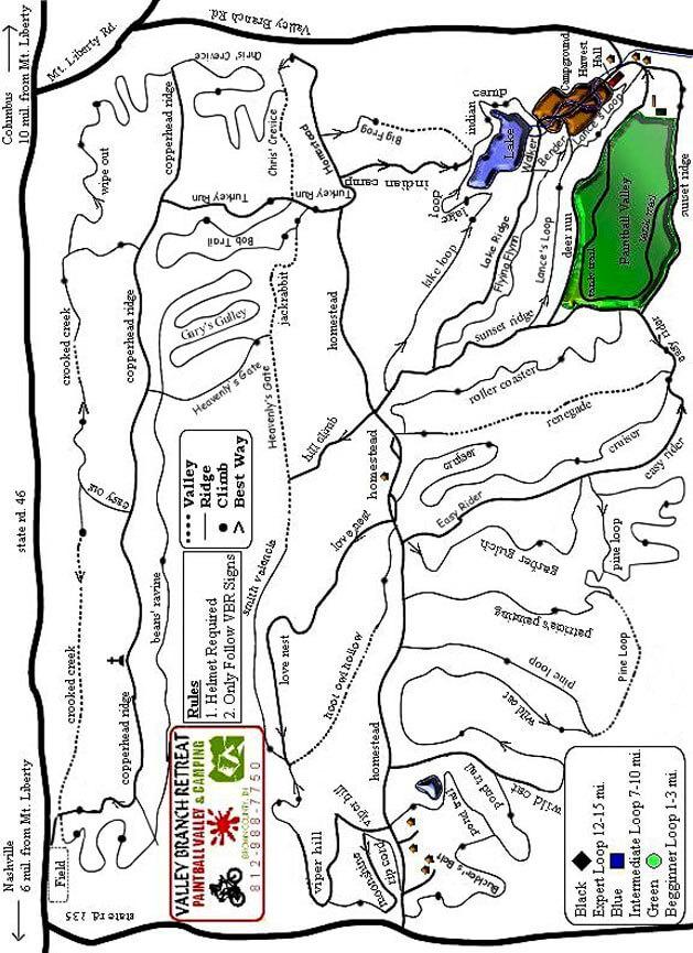 Valley Branch Retreat Mountain Biking Map