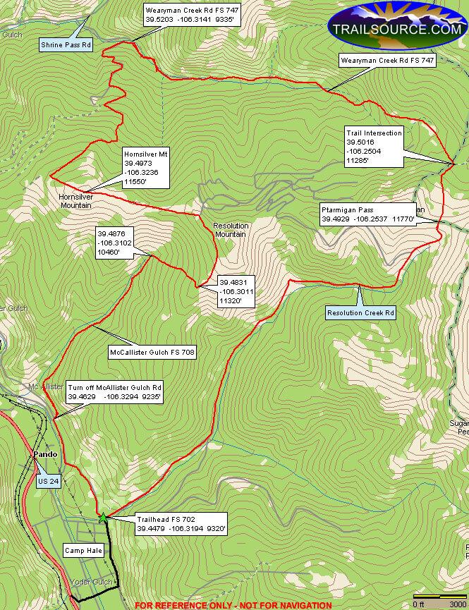 McAllister Gulch / Hornsilver Mountain ATV Trails Map