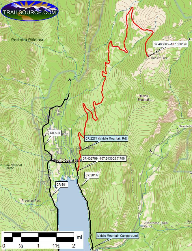 Middle Mountain Dirt Biking Map