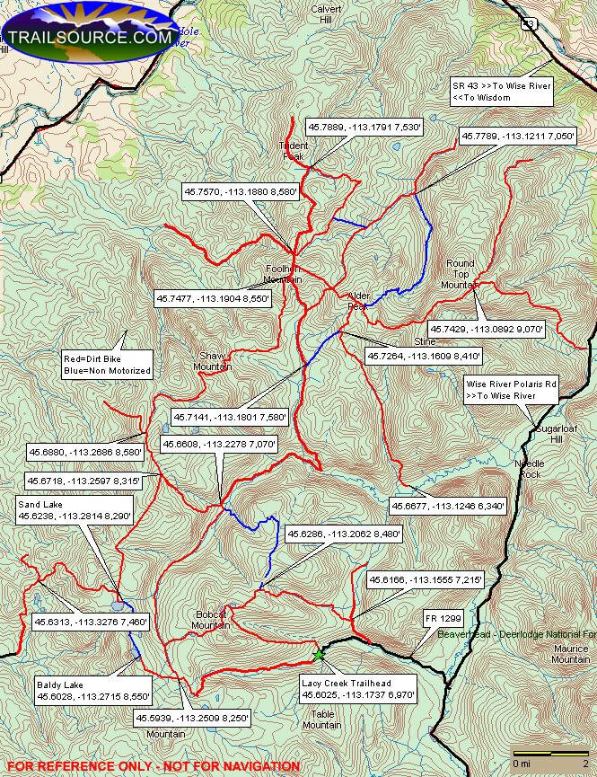 Pioneer Loop Trail Dirt Biking Map