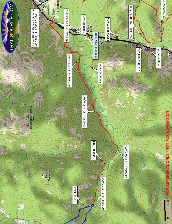 Pettengill Creek Trail Dirt Biking Map