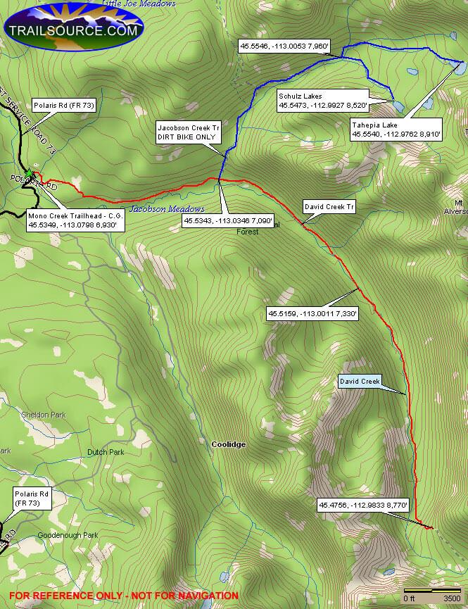 David Creek Trail Dirt Biking Map