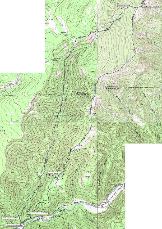 Priest Gulch / Upper Calico Dirt Biking Map