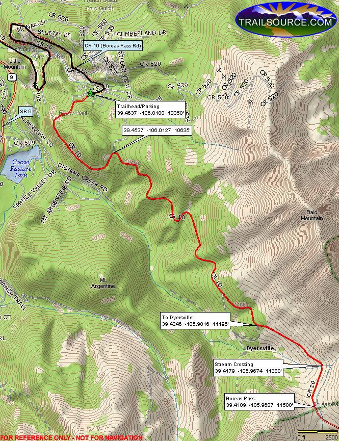 Boreas Pass Road Dirt Biking Map