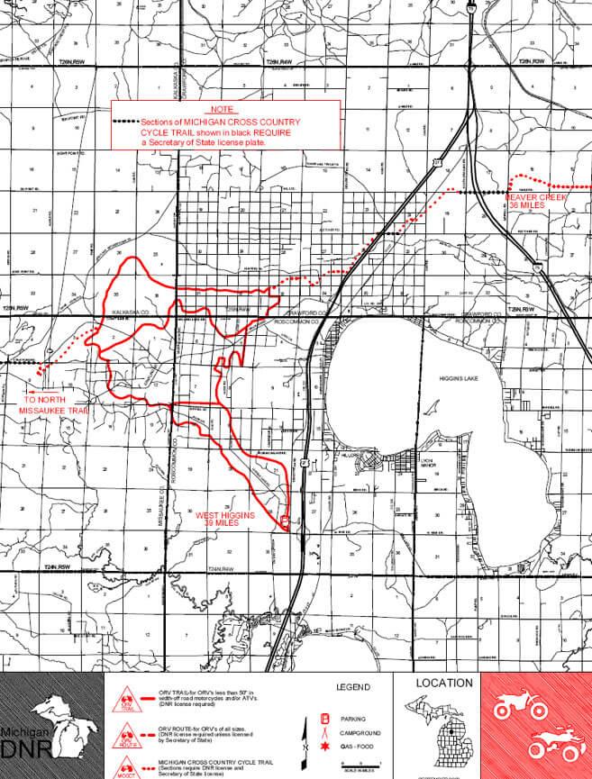 West Higgins Trail ATV Trails Map