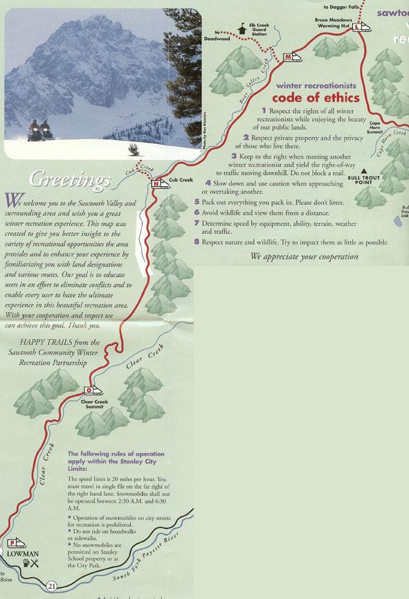 Lowman Snowmobiling Map
