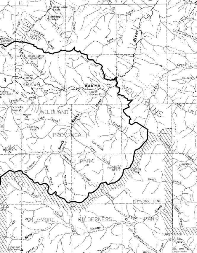 Kakwa Wildland Park Snowmobiling Map