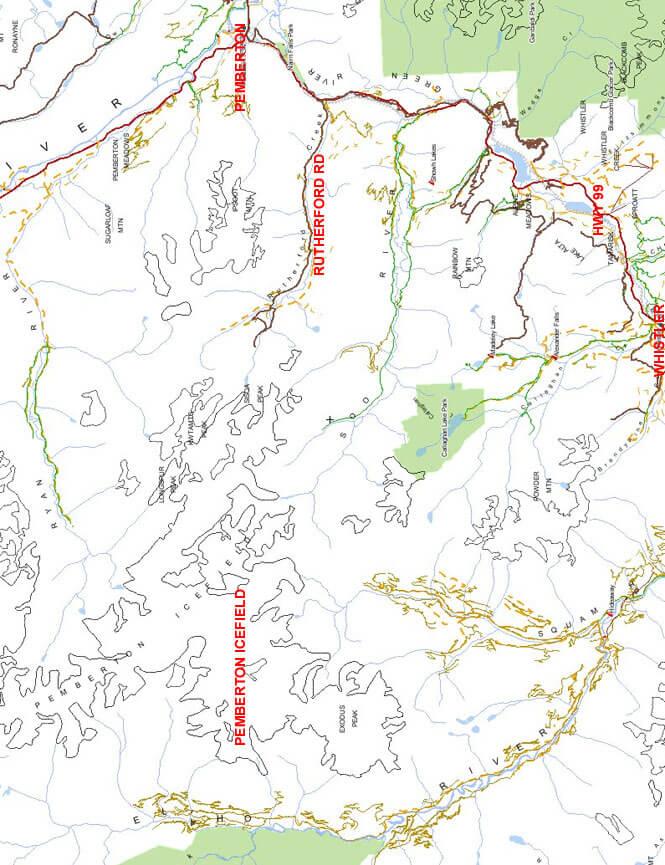 Pemberton Ice Fields Snowmobiling Map